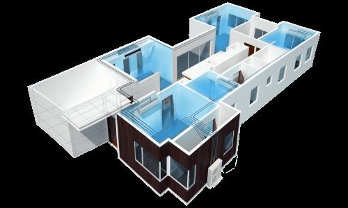 3D House Multisplit Inverter Cooling